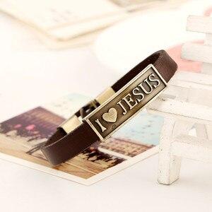 Image 4 - Zorcvens Vintage Brief Jesus Armband Mannelijke Gebed Christian Armband Leer Vrouwen Sieraden