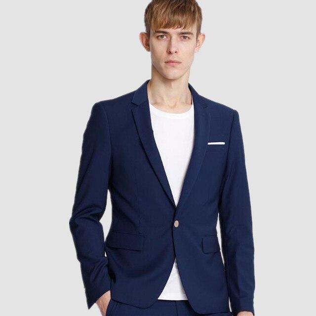 Синий мужские костюмы куртка просто мода мужские свадебные смокинги куртка одна кнопка на заказ формальные деловые костюмы куртка
