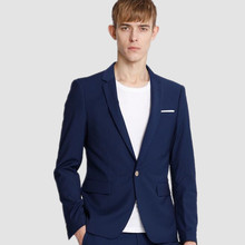 Blue men suits jacket simple fashion men's wedding tuxedos jacket one button custom formal business  suits jacket