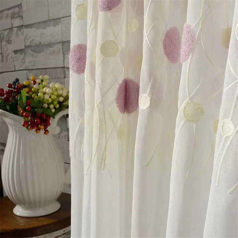 Modern 3D Round Embroidered Pink Curtain For Kid Girls Bedroom Soft Fabric White Sheer Voile Curtain Living Room Tulle FQ021D3