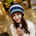 1 Pcs 2015 New The Stripes Add Thick Knitted Cap Autumn Winter Keep Warm Hats For Women Cotton Skullies Beanies 4 Colors