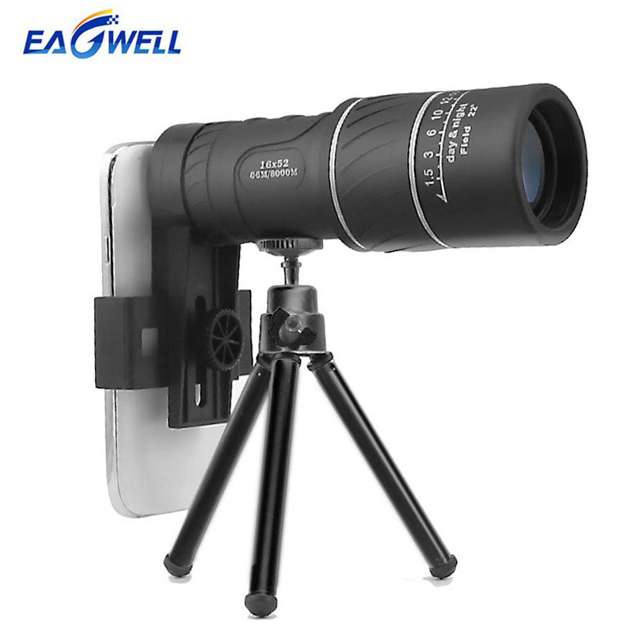 16X52 Dual Focus Telescope Lens Mobile Phone Camera Zoom Telephoto Lens Night Vision Camping Outdoor Fishing Travel with Tripod