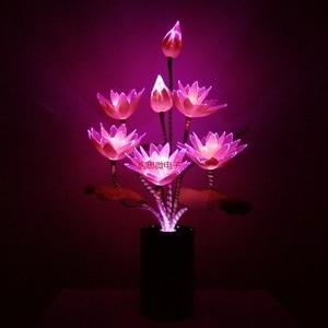 Image 5 - W nowym stylu 7 głowice kwiat Led światła lotosu światła buddy lampa Fo lampa nowość artystyczne z włókna optycznego kwiat