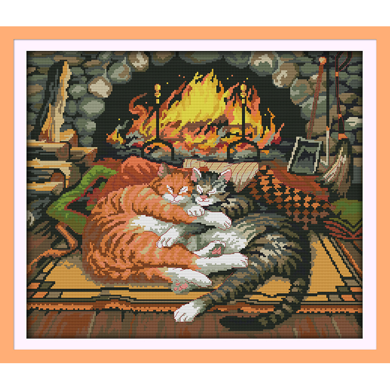 Everlasting love Sleeping cat Chinese cross stitch kits Ecological cotton stamped printed 11CT DIY new year decorations for home