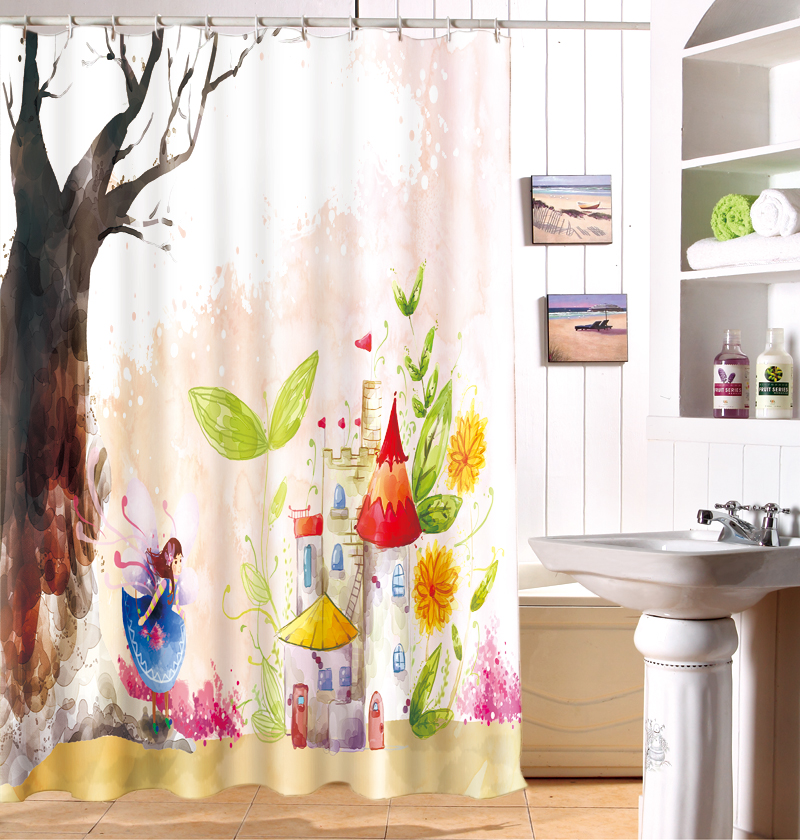 Cartoon Girls Dream Castle Character Of 3 D Printing Shower Curtain In Shower Curtains From Home