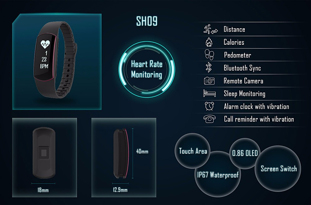 Smart band Bracelet IP67 Heart Rate Monitor Sport Fitness Tracker for Android iOS smartphone (6)