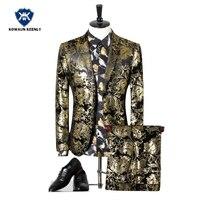 Mannen Pakken Voor Bruiloft Pak Jurk Gedrukt Paisley Bloemen Zwart goud Smoking Stadium Kostuums Voor Zanger Slim Fit Mannelijke Prom Suits