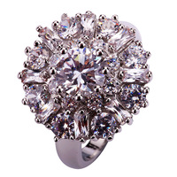 lingmei Wholesale Charming Flower Round Cut Clear White Topaz AAA Silver Ring Size 7 8 9 10 11 12 Alluring Jewelry Gift
