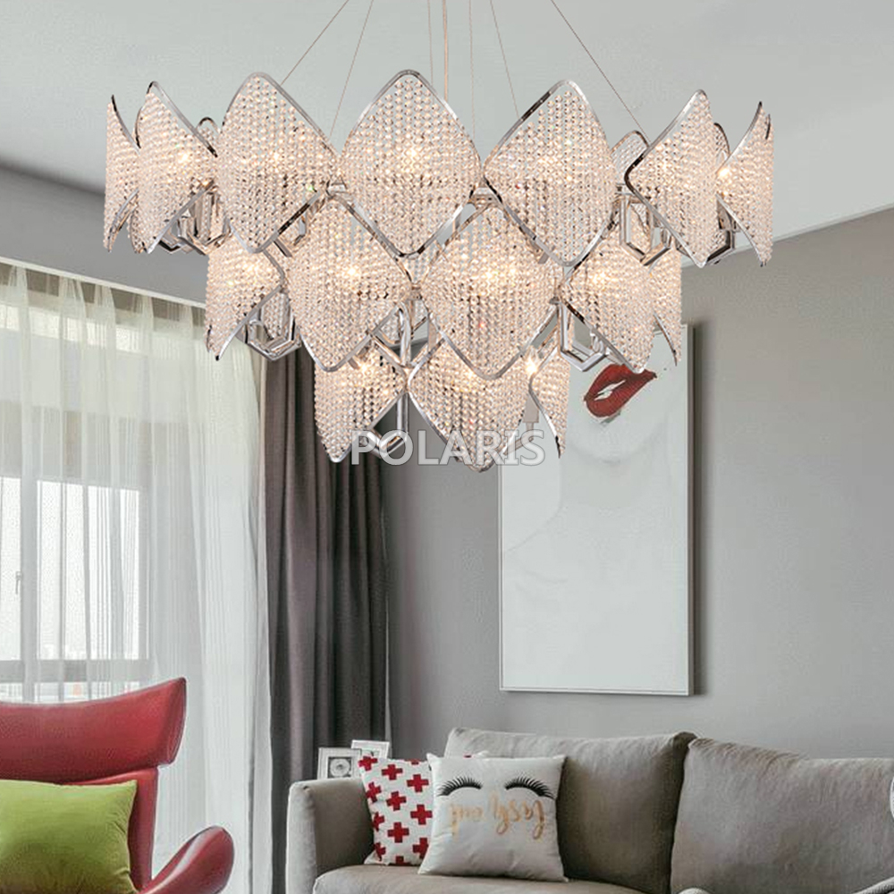 Modern Crystal Chandelier Lighting Fixture Luxury Contemporary Chandeliers Pendant Hanging Light for Home Hotel Decoration