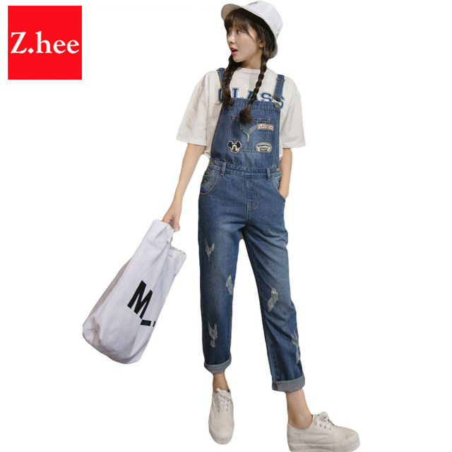 Cartoon pattern Straight Straps Denim jumpsuit Womens Slim Jeans Jumpsuit Overalls Rompers Female Denim jumpsuit
