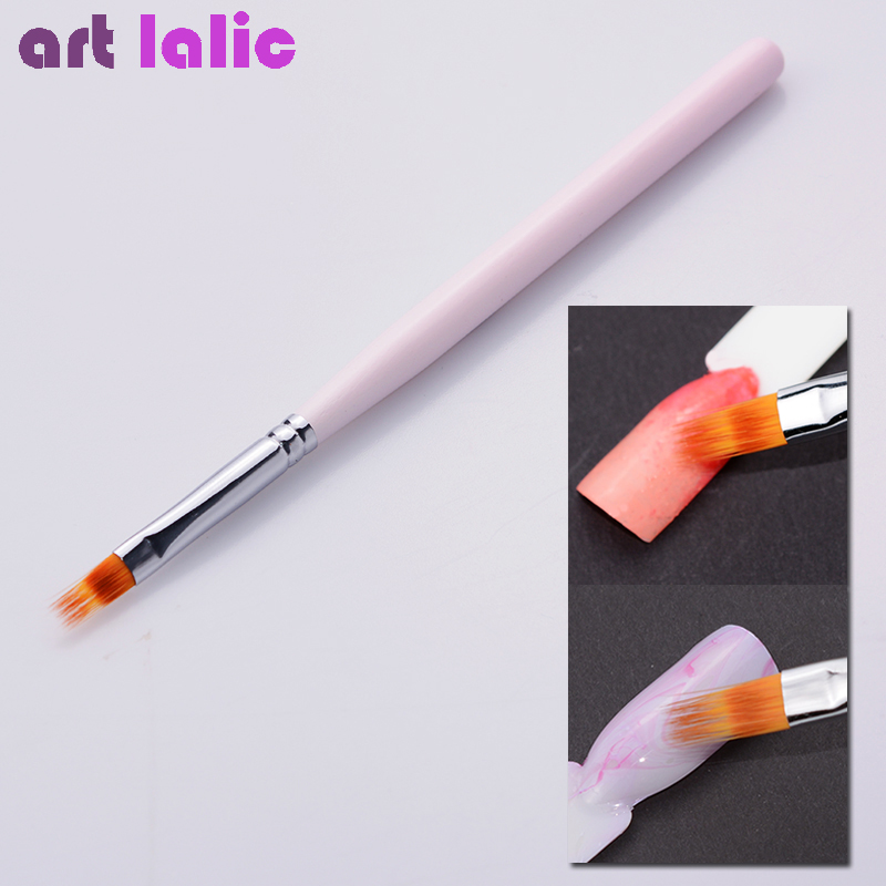 1 Pc Gradient UV Gel Pen Drawing Painting Soft Brushes Pink Handle Manicure For Nail Art Pen Transfer Manicure Tool