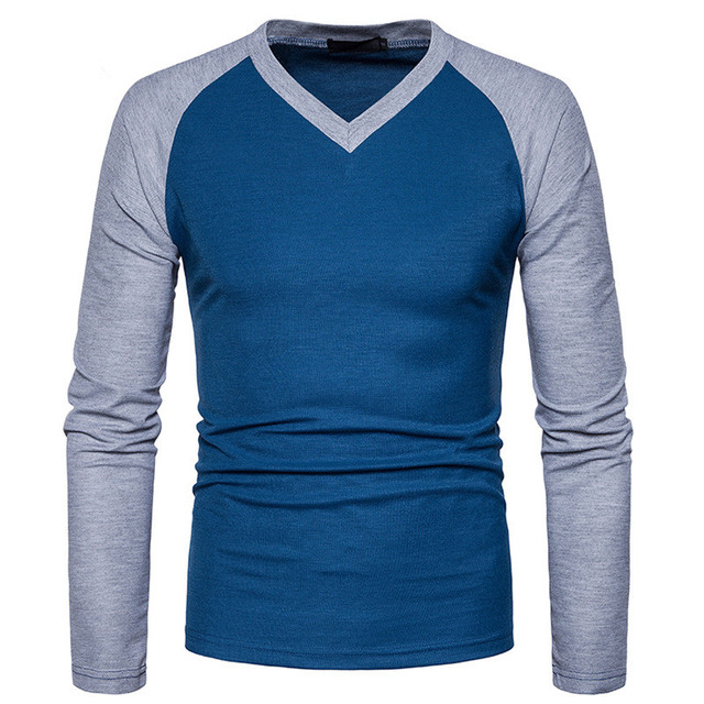 T-Shirt Men 2017 Spring Summer New Long Sleeve O-Neck T Shirt Men Brand Clothing Fashion Patchwork Cotton Tee Tops