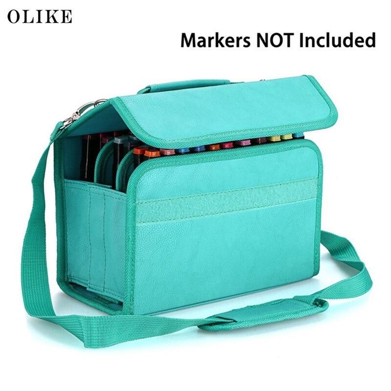 OLIKE Pu Leather Art Marker Carrying Case Large Capacity Portable Organizer Storage Bag Box 60 Slots Carrying Durable Tools