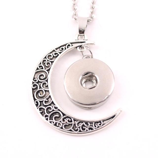 2016 18mm botón a presión de metal de la joyería Collar de luna colgante de las mujeres NE380 hombres Vintage accesorios de one direction