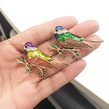 Fashion High Quality Alloy Enamel Bird Brooches Men Women Brooch Suits Dress lable Pin Unique pin Jewelry Gift