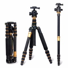 Pro Q666C Portable Carbon fiber Tripod&Ball Head Compact for DSLR Camera