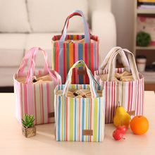 Canvas lunch bag Heat preservation bags of ice bag cute striped insulation bag bundle insulation package
