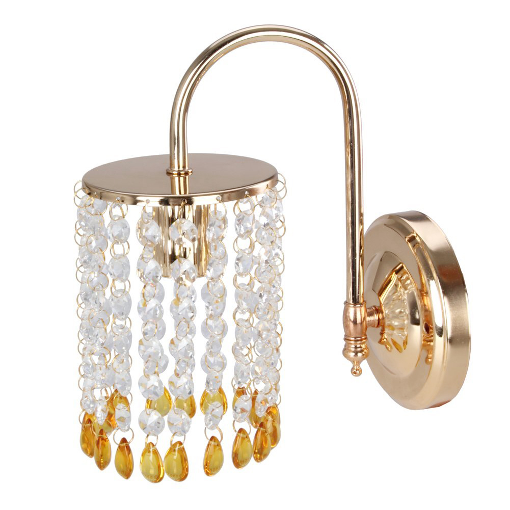 Stunning Gold Wall Light Crystal Lamp Wall Sconce   Add Drama To Your Home  (without A Pull Cord)