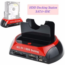 Multifunctional HDD Docking Station Dual USB 2.0 2.5/ 3.5 Inch IDE SATA External HDD Box Hard Disk Drive Enclosure Card Reader