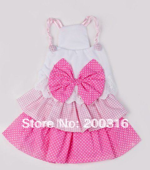New Lovely  Pink  Princess Pet Dog's Dress Free shipping Dress for dog  clothing for dog