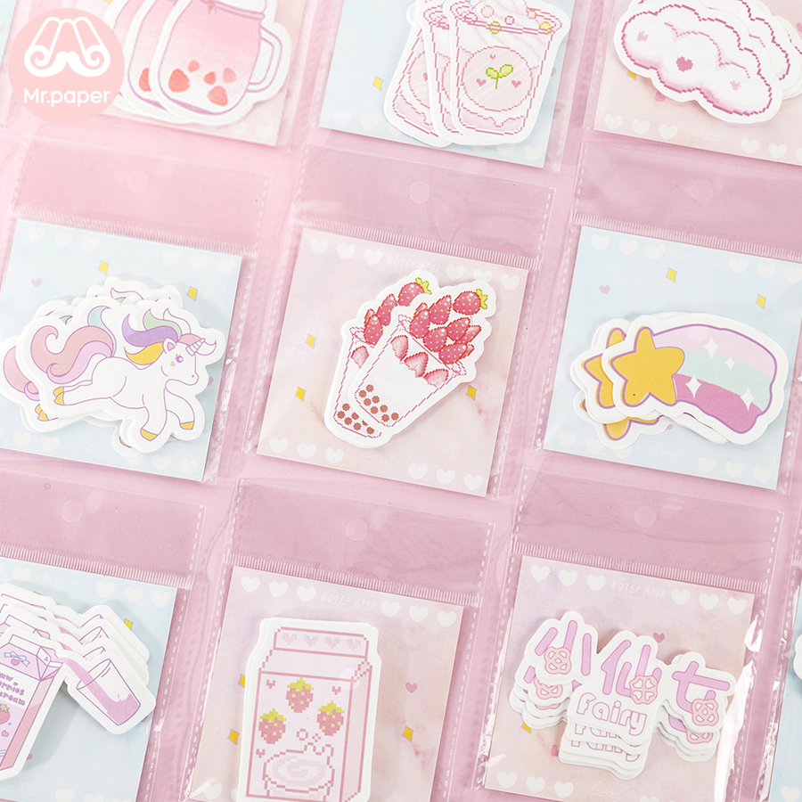 Mr Paper 30pcs/pack 24 Ins Element Kawaii Pink Blue Girls Generation Memo Pads Self-Adhesive Notes Cartoon Juice Snack Memo Pads
