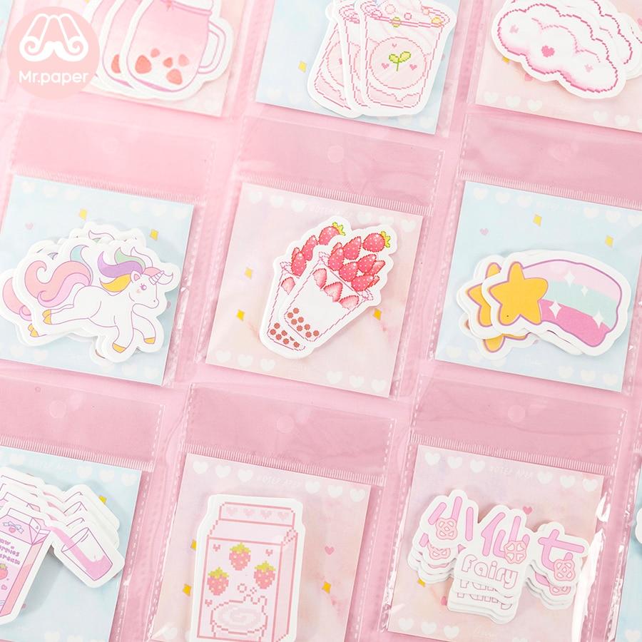 Mr Paper 30pcs/pack 24 Ins Element Kawaii Pink Blue Girls Generation Memo Pads Self-Adhesive Notes Cartoon Juice Snack Memo Pads