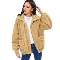 Langstar Women Jacket Lamb Wool Fluffy Loose Coat Fashionable Zipper Pocket Warm Soft Jackets Winter Ladies Tops Women'S Outwear