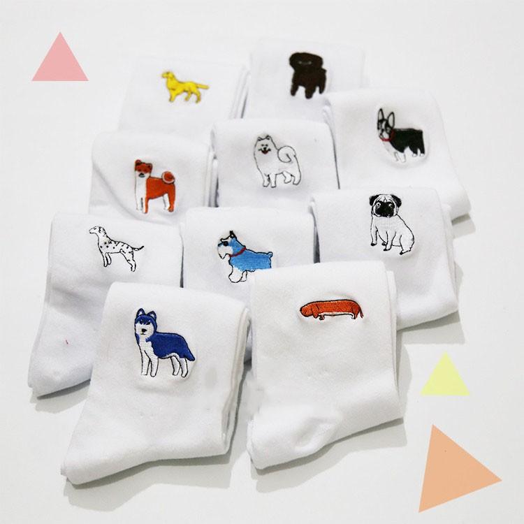 cute animal husky embroidery women cotton white socks lovely dog Jacquard female pure color socks funny kawaii pug meias soks 3