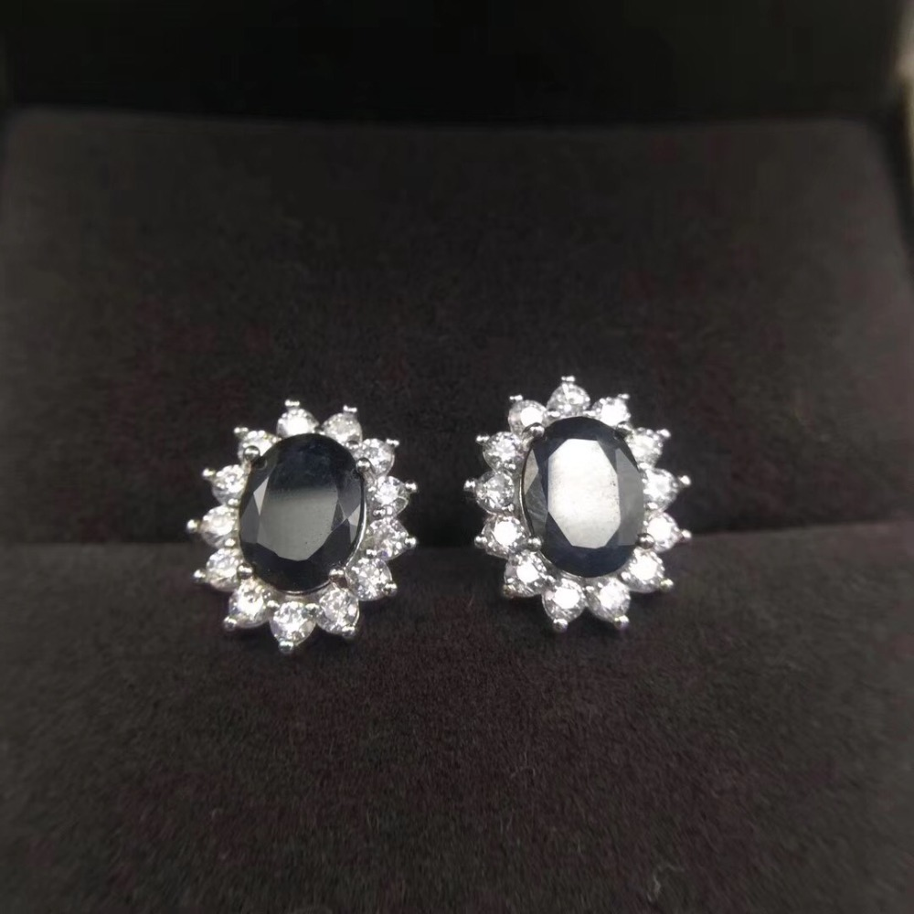 Sapphire earring Free shipping Natural real sapphire 925 sterling silver Fine jewelry 6*6mm 2pcs Sapphire earring Free shipping Natural real sapphire 925 sterling silver Fine jewelry 6*6mm 2pcs