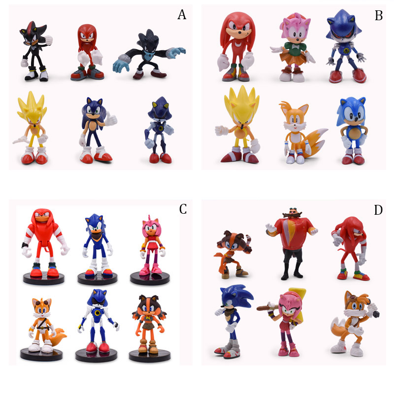 4 Styles Sonic 6 Pcs/set Figures PVC Sonic Shadow Amy Rose Sticks Tails Characters Figure Christmas Gift Baby Toy For Children