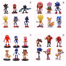 4 Styles Sonic 6 pcs/set Figures PVC Shadow Amy Rose Sticks Tails Characters Figure Christmas Gift Baby Toy For Children