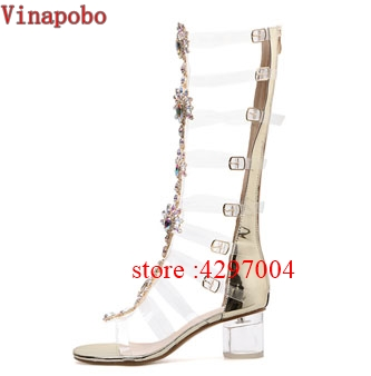 Clear PVC transparent Sandals Thick Heels Woman Knee High Rhinestone Gladiator Sandal Long Boots Bohemia Crystal Beach Shoes