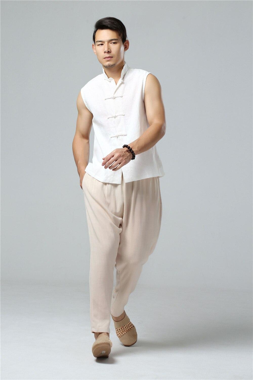 LZJN 2019 Men's Summer Waistcoat Chinese Style Vintage Breathable Linen Button Down Kung Fu Shirt Sleeveless Vest Jacket  (13)