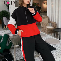 RZIV Spring women's two piece set casual multi color stitching sports top and pants