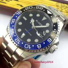 цена NEW 43mm Bliger Black dial Steel Luminous hands ceramic bezel Date Sapphire Glass GMT Automatic Movement Men's Mechanical Watch онлайн в 2017 году