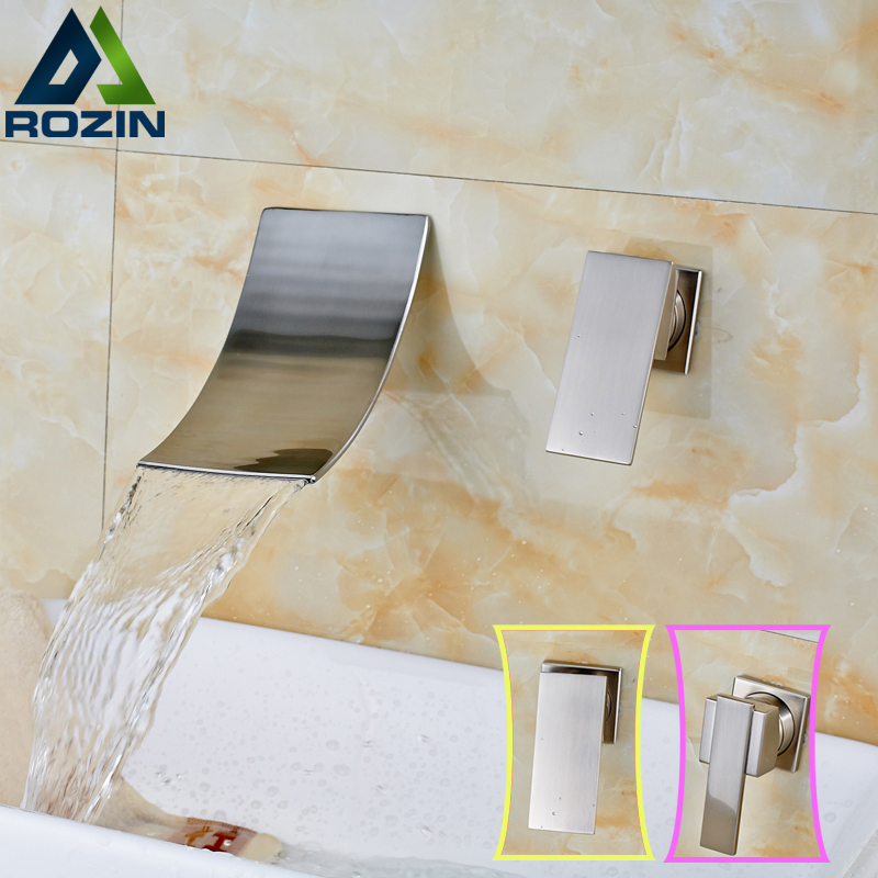 Luxury Nickel Brushed In-wall Basin Faucet Wall Mounted Single Handle Two Holes Lavatory  Sink Hot and Cold Mixer Tap us free shipping wholesale and retail chrome finish bathrom sink basin faucet mixer tap dusl handle three holes wall mounted