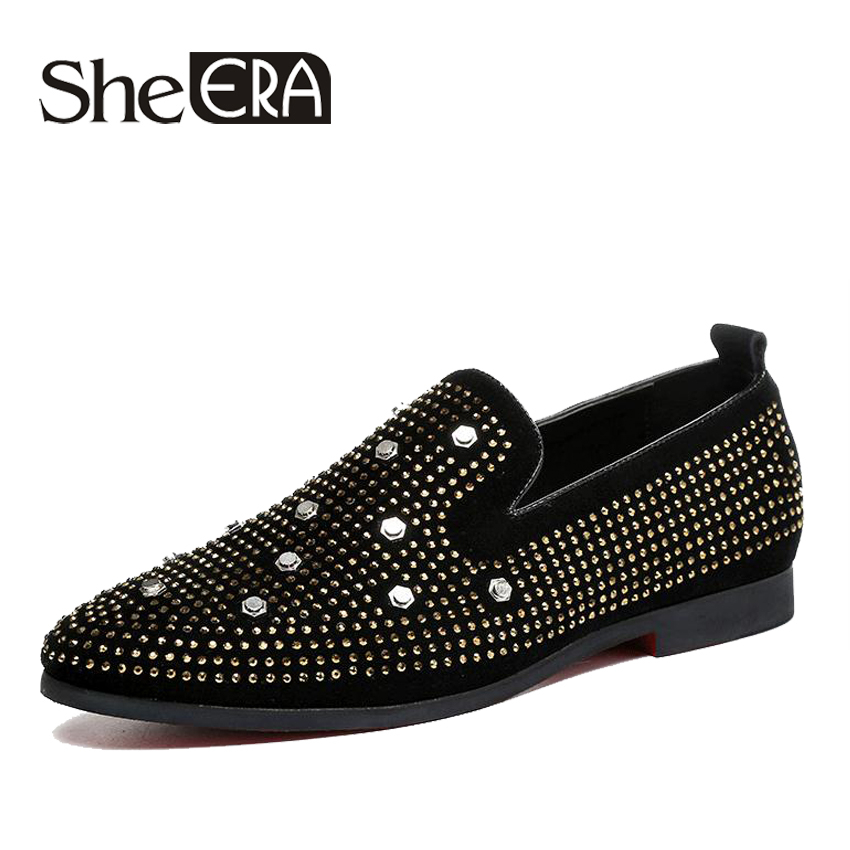 Italian Men loafers Black Diamond Rhinestones Spiked Loafers Rivets shoes Red Bottom Wedding Party Shoes Plus Size 37 48