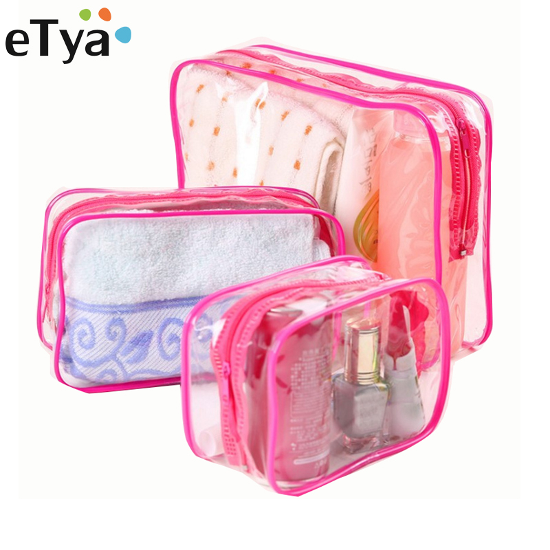 eTya Transparent PVC Cosmetic Bag Travel Organizer Women Clear Zipper Makeup Bag Beauty Case Make Up Tote Bath Wash Bags Handbag