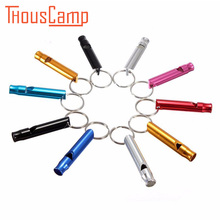 Outdoor Survival Aluminium Alloy Whistle sport Training Emergency With Key Chain Multi-Colors 2PCS