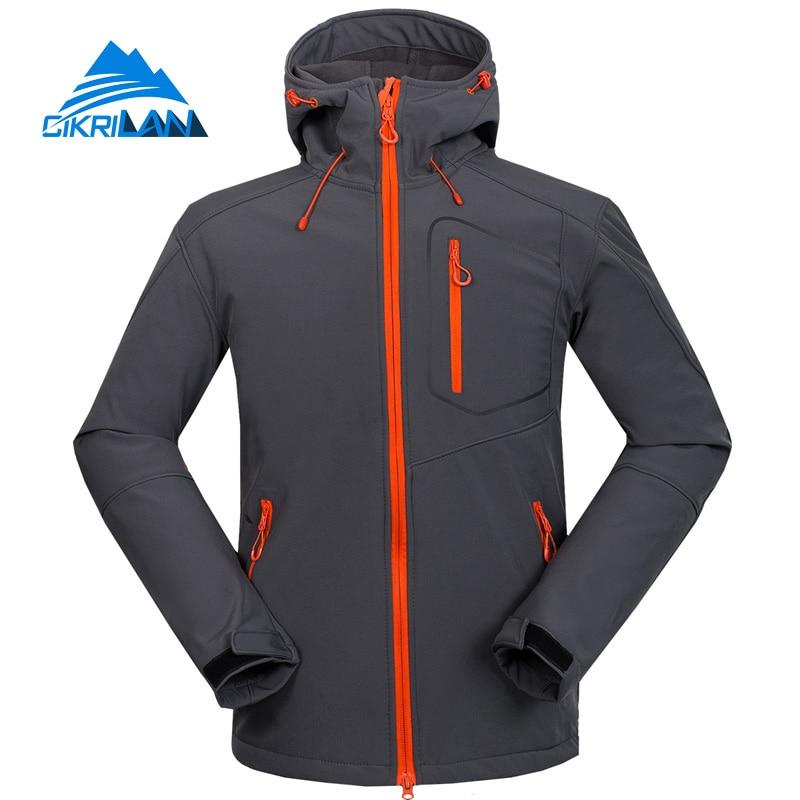 ФОТО 2016 Outdoor Sport Soft Shell Fleece Lining Hooded Coat Hiking Camping Trekking Softshell Jacket Men Climbing Jaqueta Masculina