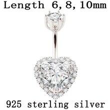 Настоящее серебро 925 пробы, кольцо для пупка, женское ювелирное изделие, сердце, пирсинг, ювелирное изделие, S925 6 8 10 мм, пупка, не вызывает аллергию
