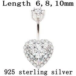 Gerçek 925 ayar gümüş göbek göbek piercingi kadınlar güzel takı kalp vücut piercing takı S925 6 8 10mm göbek çubuğu alerjik olmayan