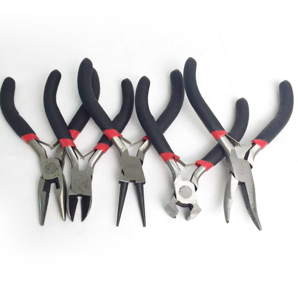 5pcs/set Mini Jewelry Making Pliers Set Carbon Steel & PVC Beading Wire Wrapping Round Long Bent Mini Cutter Tool 2018 New