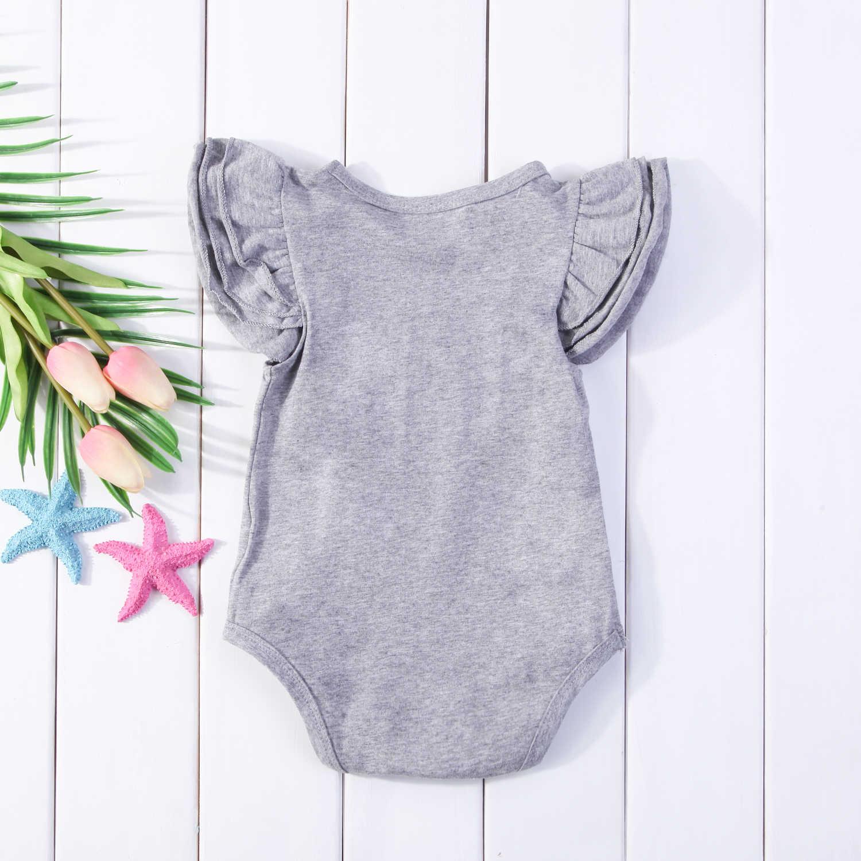 2018 для новорожденных Обувь для девочек Обувь для мальчиков плиссированная одежда короткие с рукавами-крылышками боди комбинезон Повседневное Однотонная одежда