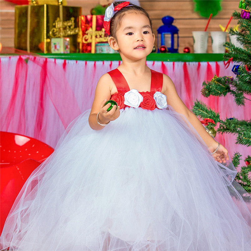 Handmade Cute Girls Christmas Dress Party Tutu Dress Red +White Princess Costumes Baby Kids Festival Performance Gowns Dresses