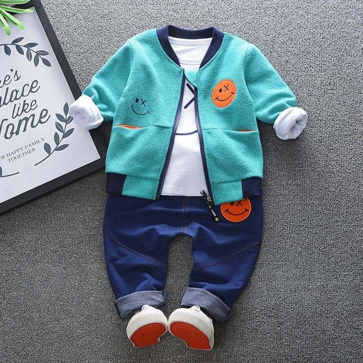 Hot Sale 2018 Spring Baby Girls Boys Clothes Sets Cute Infant Cotton Suits Coat+T Shirt+Pants Casual Kids Children Suits