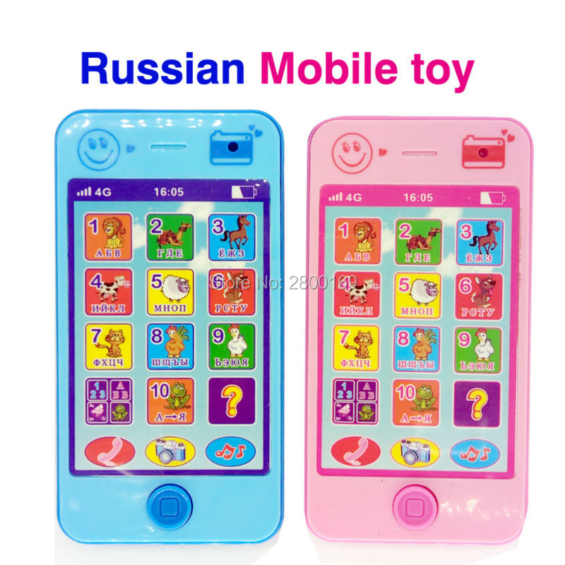 Russian Language Baby Early Learning Machines Educational Toy Phone With Animal Sounds Kids Phone Musical Play Mobile For Kids