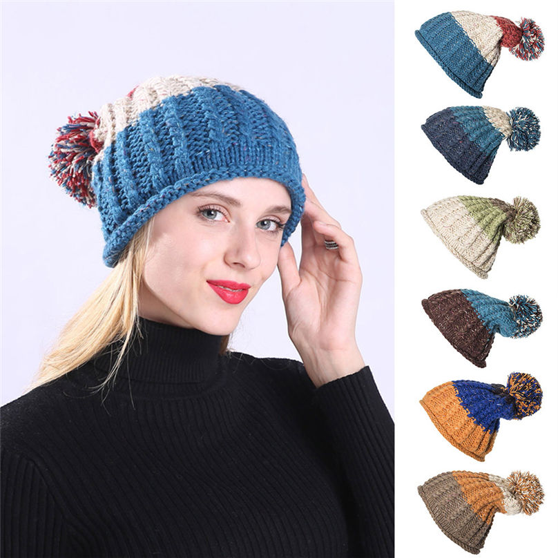 Unisex Womens Mens Warm Wool Knitted Hat Fur Pom Beanie Bobble Ski Slouch R369X