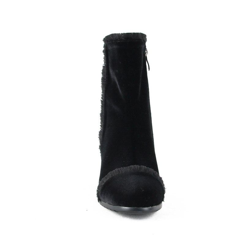 Phoentin púrpura flecos botas señora 2018 nueva llegada zip tobillo botas terciopelo bloque talón verde invierno Zapatos Mujer talla grande FT524-in Botas hasta el tobillo from zapatos    3