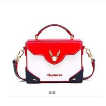 DuoLaiMi 2019 New rivet Thread England Style Patchwork Appliques Deer Pearl Panelled PU Women Box Handbag Shoulder Crossbody Bag